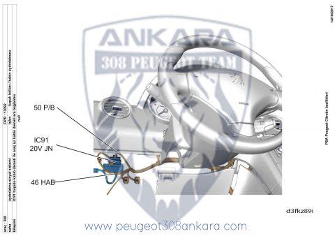 Peugeot 308 T7 İç Aydınlatma IC91 Arasoket  Ayrıntı Şemasi